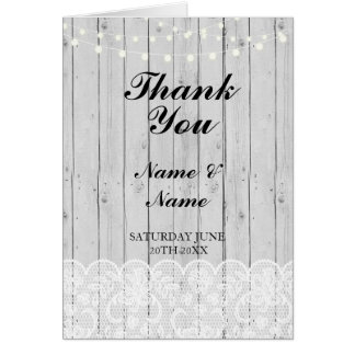 Thank You Card Bridal Lace Wood Wedding Engagement