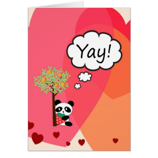 Thank You Card - Child's Heart and Panda Design