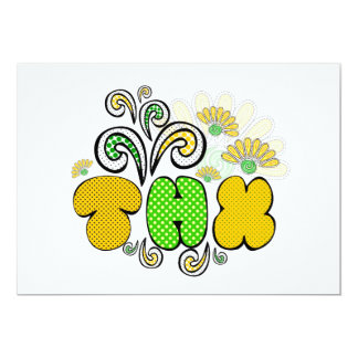 """Thank you"" card, doodle drawing design, spring Card"