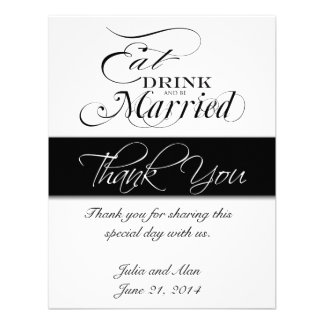 Thank You Card Eat Drink and Be Married Black Custom Invite