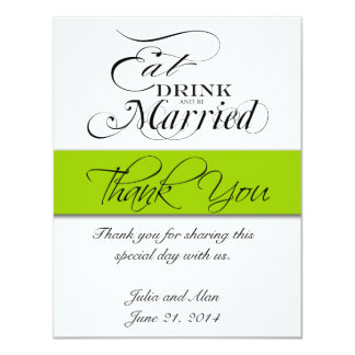 Thank You Card Eat, Drink, and Be Married Green 11 Cm X 14 Cm Invitation Card