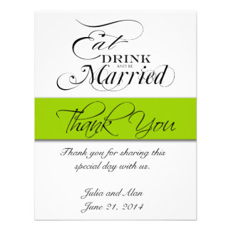 Thank You Card Eat Drink and Be Married Green Announcements
