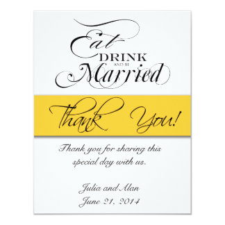 Thank You Card Eat, Drink, and Be Married Yellow 11 Cm X 14 Cm Invitation Card