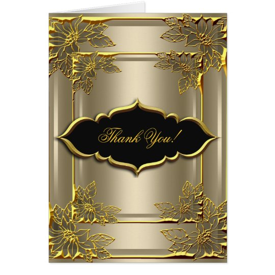Thank You Card Elegant Coffee Black Gold