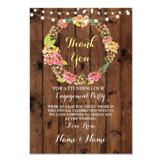 Thank You Card Engagement Floral Wedding Wood