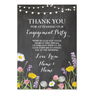 Thank You Card Engagement Wedding Wild Flowers