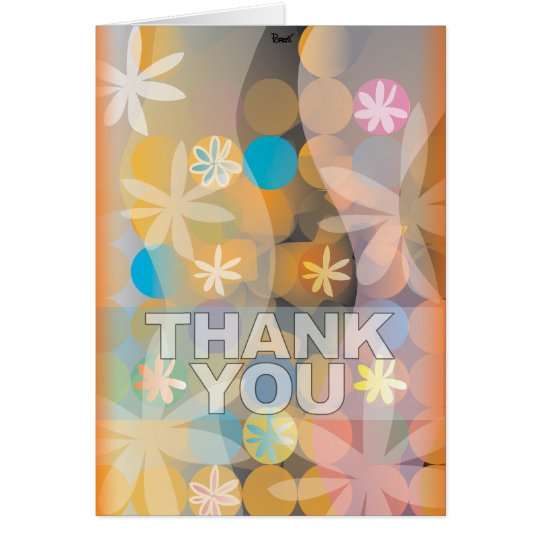 Thank You Card Floral Curve