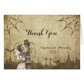 Thank You card for Halloween wedding with skeleton