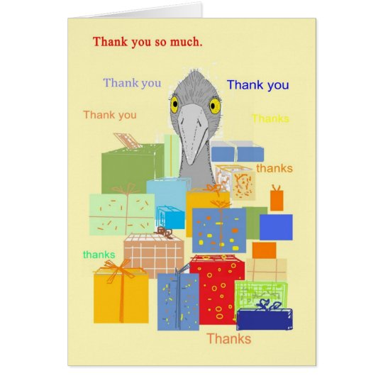 Thank You Card, Funny bird with gifts Card