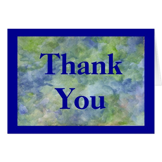 Thank You Card in blues and greens