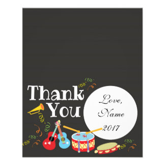 Thank You card - music theme kids birthday
