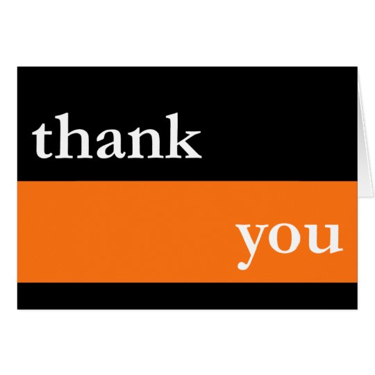 Thank You Card / Notecard (Orange Thick Stripe)