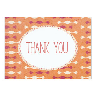 Thank you card orange trendy geometric ethnic