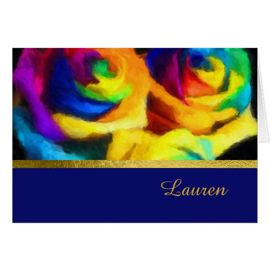 Thank You Card Painted Rainbow Rosees
