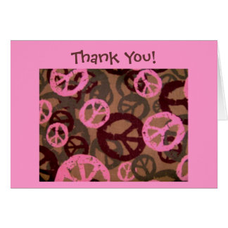 Thank You! Card-Peace Signs/Camo Look Design Card