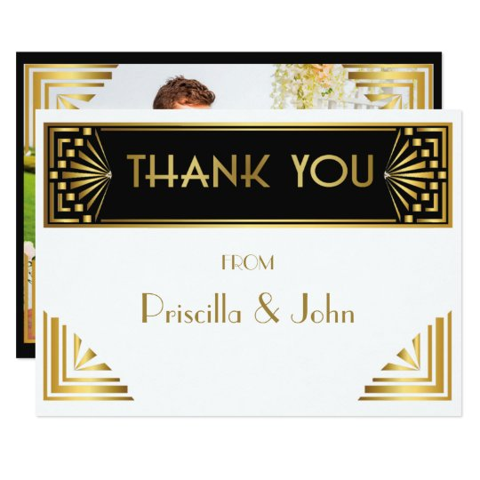 Thank You Card,Photo Back,Great Gatsby,white black Card