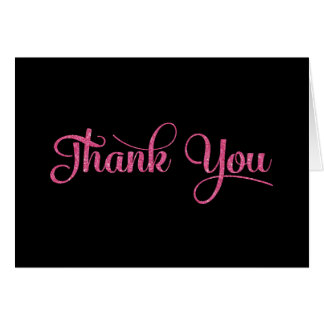 Thank You Card - Pink Sparkle Effect