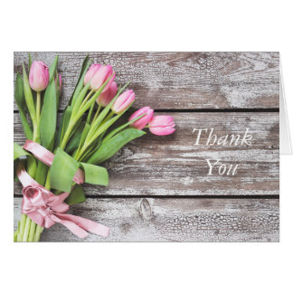 Thank You Card--Pink Tulips & Wood Card