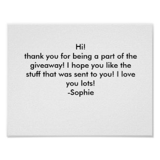 Thank you card poster