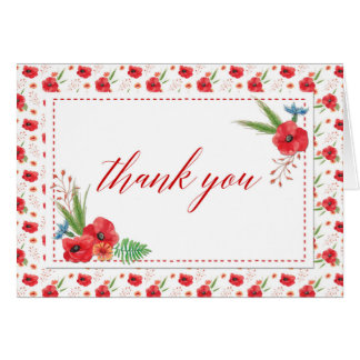 Thank You Card - Pretty Poppies