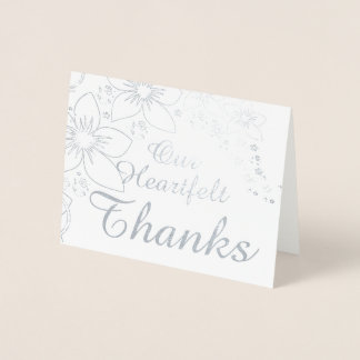 Thank You Card Real Foil Silver Gold Wedding