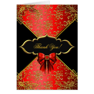 Thank You Card Red Black Gold Damask