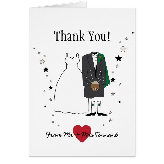 Thank You Card - Scottish Bride & Groom