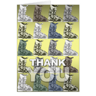 Thank You Card Ski Boot Pattern