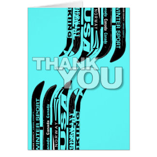 Thank You Card Ski Snow Blade