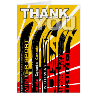 Thank You Card Ski Snow Blade Tall