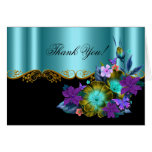 Thank You Card Teal Blue Black Gold Purple Floral