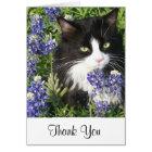 Thank You Card Tuxedo Cat in Texas Bluebonnets