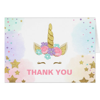 Thank you card Unicorn Gold Pink Girl Whimsical