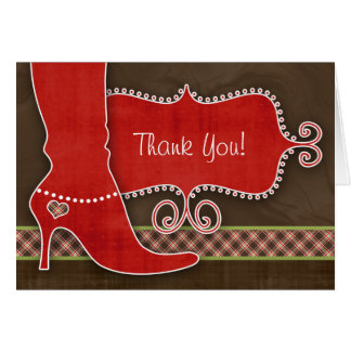 Thank You Card w/ fun Red Boot & heart plaid brown