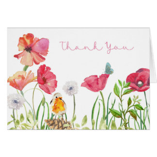 Thank You Card - Watercolor Nature