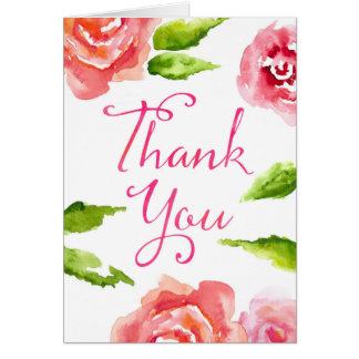 Thank You Card - Watercolor Roses and Leaves