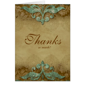 Thank You Card Wedding Antique Verdigris