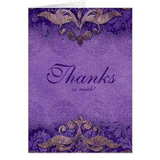 Thank You Card Wedding Antique Verdigris Purple Br