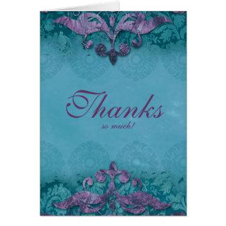 Thank You Card Wedding Antique Verdigris Purple Tu
