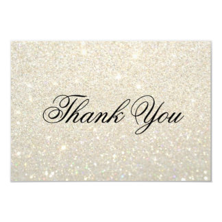 Thank You Card - White Gold Glit Fab