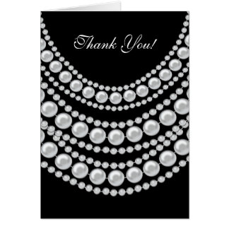 Thank You Card White Pearls On Black