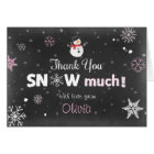 Thank you card Winter Onederland Snowman Pink Girl