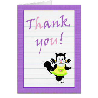 Thank you card with cute cat acknowledgement