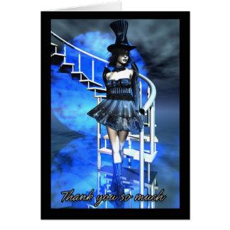 Thank You Card With Fantasy Female Goth