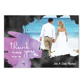 Thank You Card with Photo Watercolor Purple Black 9 Cm X 13 Cm Invitation Card