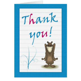 Thank you card with smiling bear acknowledgement