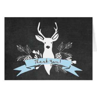 Thank You Card, Woodland Deer Chalkboard, Blue Card