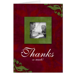 Thank You Card Xmas Red Green Wedding Floral