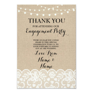 Thank You Cards Burlap Lights Rustic Winter Lace