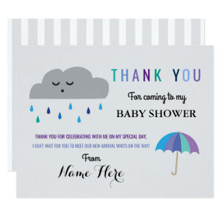 Thank You Cards Cloud Baby Shower Sprinkle Rain